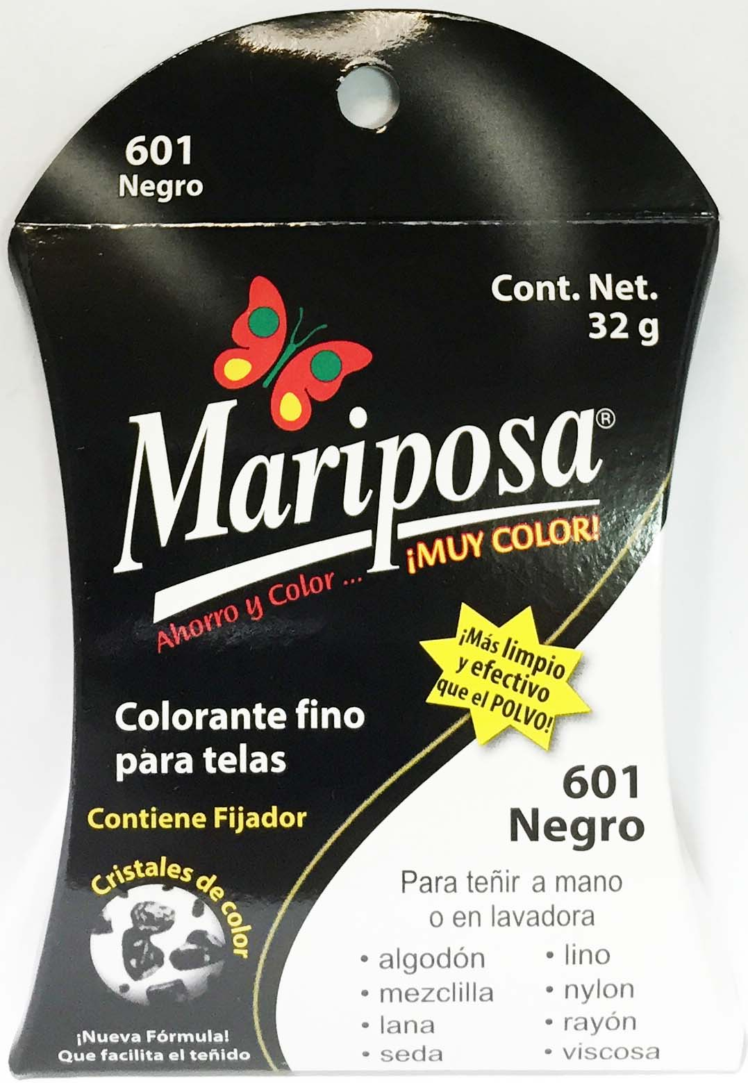 MARIPOSA CRISTALES NEGRO 601 DOCENA DOCENA