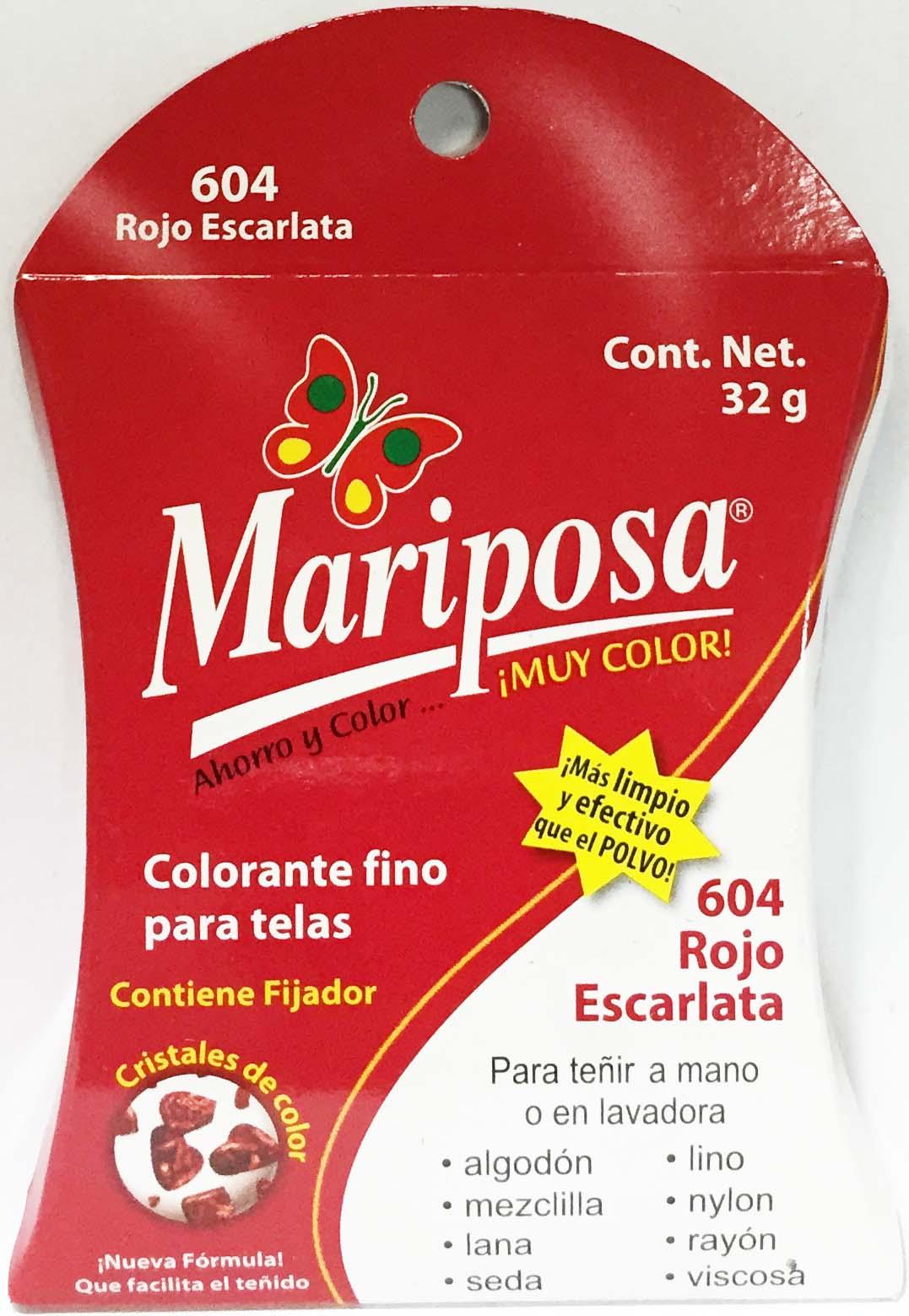MARIPOSA CRISTALES ROJO ESCARLATA 604 DOCENA