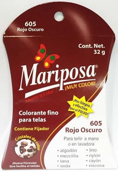 MARIPOSA CRISTALES ROJO OBSCURO 605 DOCENA