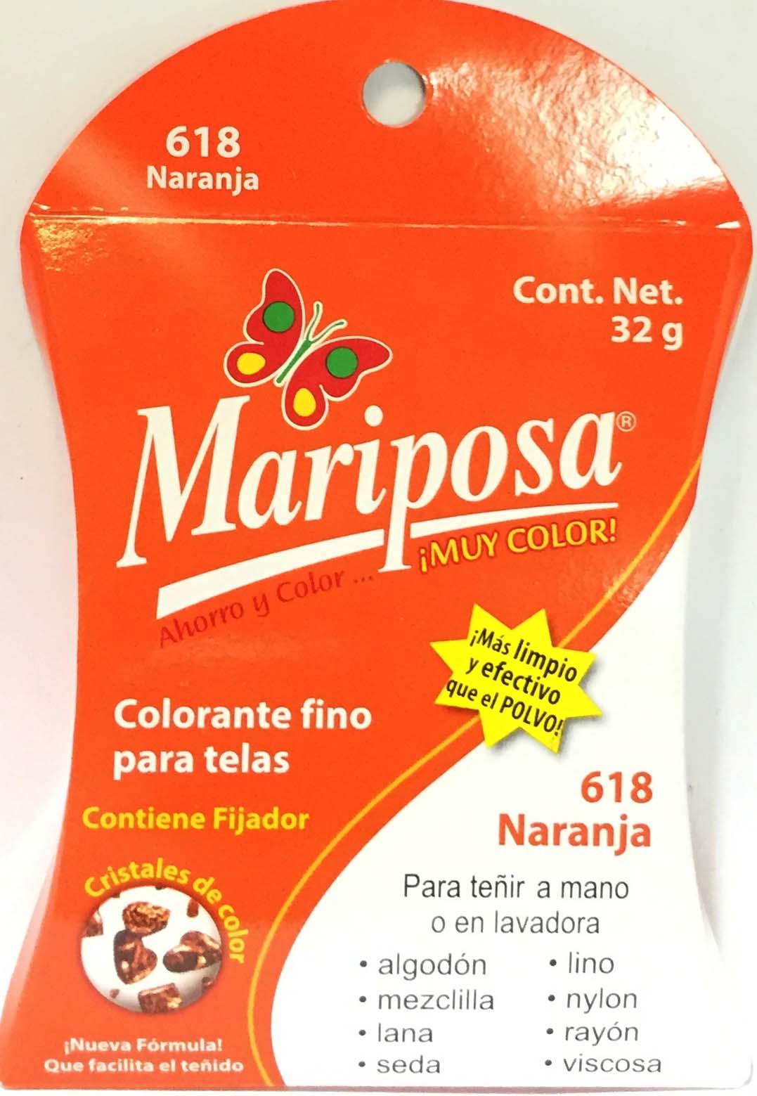 MARIPOSA CRISTALES NARANJA 618 DOCENA