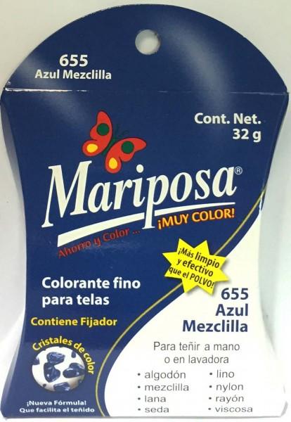 MARIPOSA CRISTALES AZUL MEZCLILLA 655 DOCENA