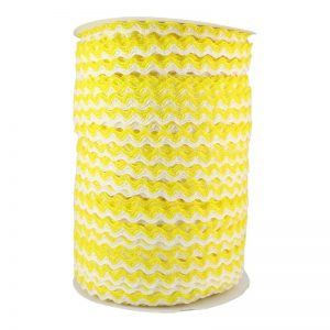 Zig zag doble color 5mm 100mts BLANCO/AMARILLO