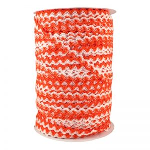 Zig zag doble color 5mm 100mts BLANCO/NARANJA