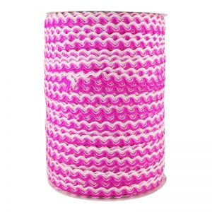Zig zag doble color 5mm 100mts BLANCO/FUSHIA