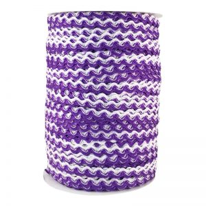 Zig zag doble color 5mm 100mts BLANCO/MORADO