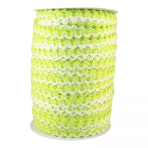 Zig zag doble color 5mm 100mts BLANCO/VERDE CANA