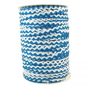 Zig zag doble color 5mm 100mts BLANCO/AZUL