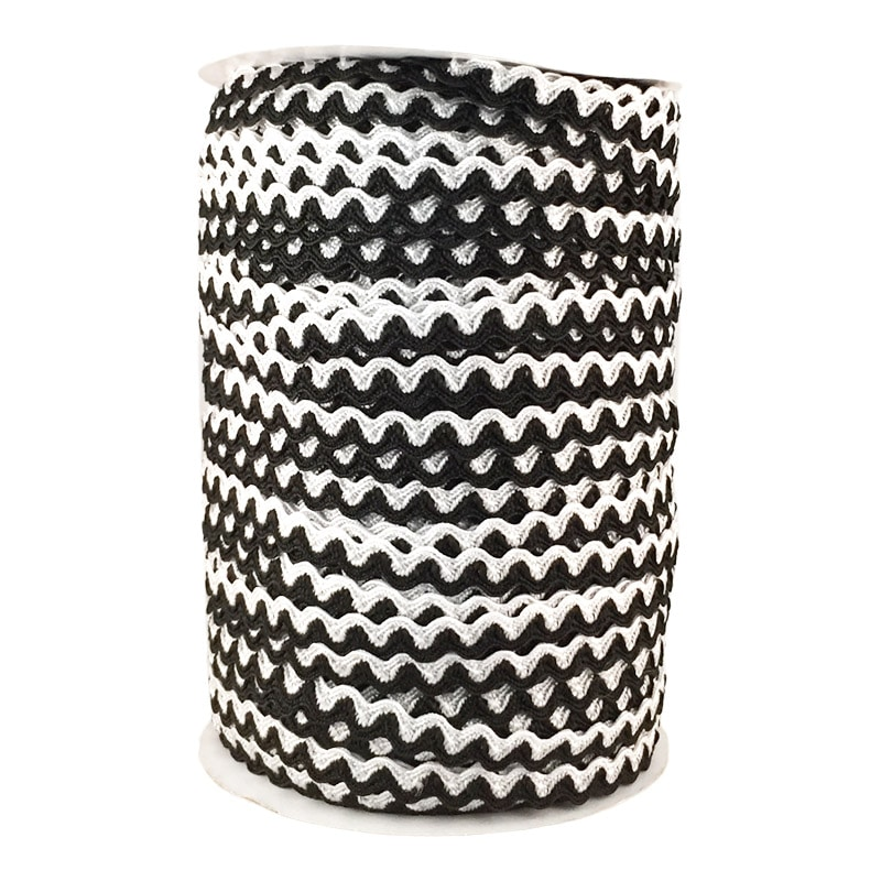 Zig zag doble color 5mm 100mts BLANCO/NEGRO
