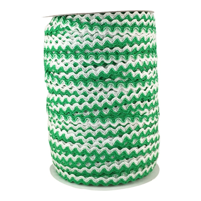 Zig zag doble color 5mm 100mts BLANCO/VERDE