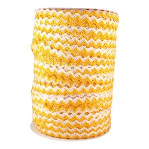 Zig zag doble color 5mm 100mts BLANCO/AMARILLO F