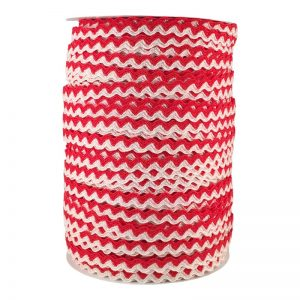 Zig zag doble color 5mm 100mts BLANCO/ROJO