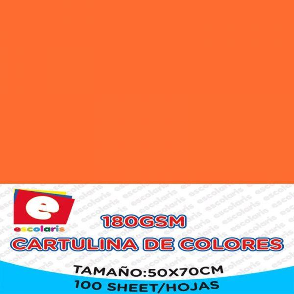 Cartulina ESCOLARIS 50X70CM 100hojas NARANJA