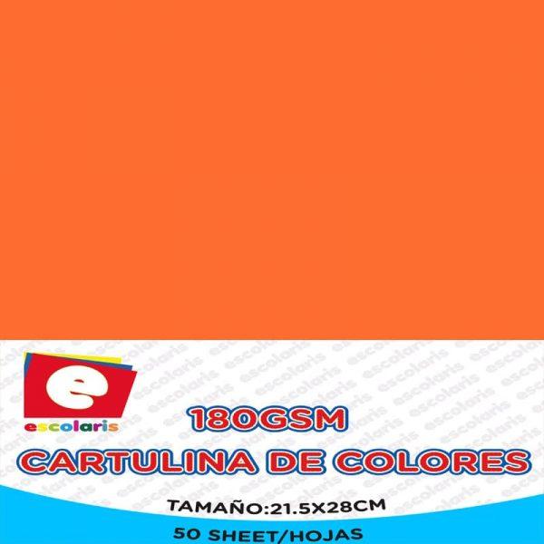 Cartulina ESCOLARIS 8.5x11 50hojas NARANJA