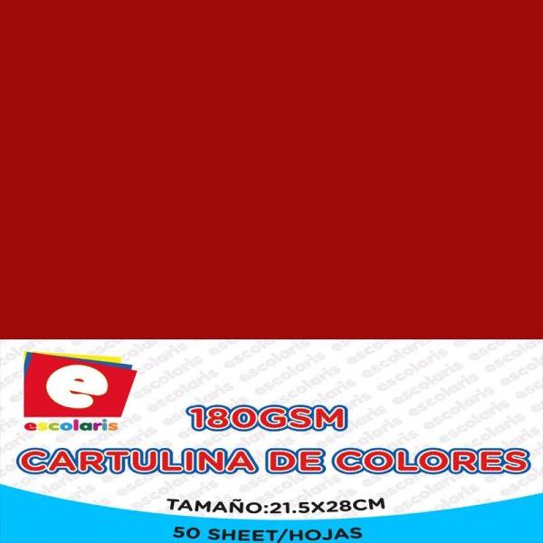 Cartulina ESCOLARIS 8.5x11 50hojas ROJO