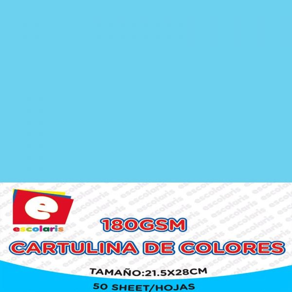Cartulina ESCOLARIS 8.5x11 50hojas CELESTE