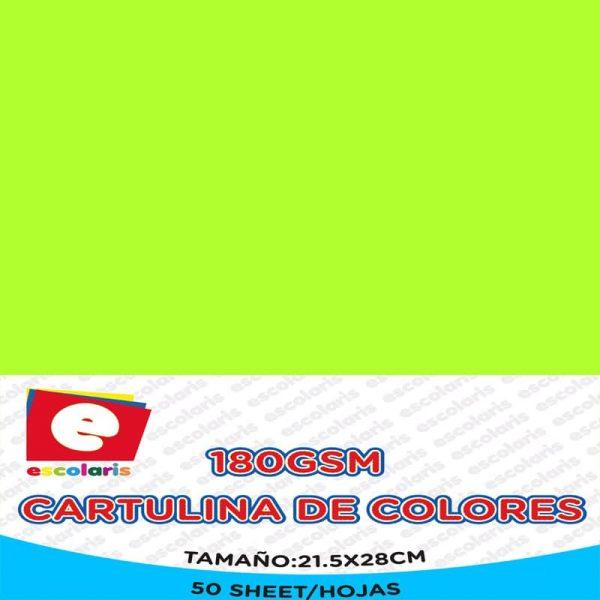 Cartulina ESCOLARIS 8.5x11 50hojas VERDE CANA