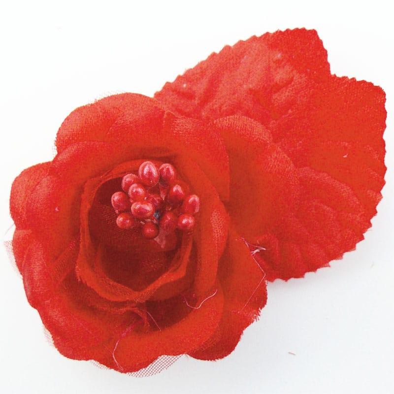 FLORES DE TELA TIPO ROSA SENCILLA 8350 RED 12PCS